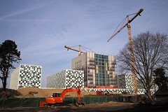 ICC Construction: November 2014 (romanboed) Tags: leica windows holland building netherlands wall architecture court justice office construction europe pattern hague m criminal summicron international courthouse 28 icc 240 typ schmidthammerlassenarchitects