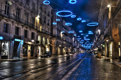 Bordeaux by Night - HDR ((Virginie Le Carré)) Tags: street light reflection night illuminations bordeaux rue nuit reflets hdr