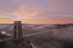 UK - Bristol - Clifton Suspension Bridge at sunrise (Harshil.Shah) Tags: uk morning bridge mist southwest west fog sunrise bristol suspension britain south united great kingdom gb avon clifton brunel
