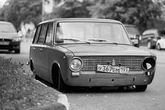 2102 (Anton Zabermach) Tags: street city urban blackandwhite bw film car analog 35mm dof russia bokeh moscow d76 soviet fujifilm neopan nikkor acros nikonfe2 selfdeveloped 85mmf18d vaz2102