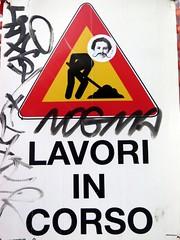 wip (YOUGUIE) Tags: italy streetart rome roma sticker italia signalisation panneau italie travaux autocollant leopipo leoetpipo
