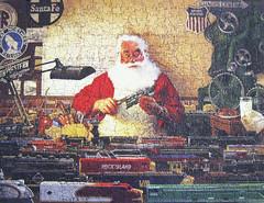 """Santa's Train Yard"" (Puzzler4879) Tags: santa christmas toys pointandshoot puzzles puzzling canonpowershot modeltrains toytrains jigsaws canonaseries christmasart canonphotography canonpointandshoot jigsawpuzzles a590is canona590is canonpowershota590is powershota590is santaart tomnewsom artisttomnewsom santastrainyard"