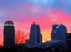 Sunset behind downtown Kansas City