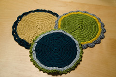 Christmas potholders (bookgrl) Tags: handmade crochet potholders