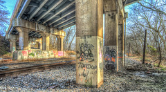 Under the bridge. (Dave Hallock) Tags: railroad bridge graffiti md nikon traintracks overpass maryland trains hdr vandals csx route15 photomatix pointofrocks handheldhdr d7100 nikond7100 da