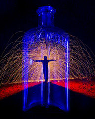 Holy Water Boil (TheMothStorm) Tags: longexposure two lightpainting glass silhouette lens exposure jesus double cap single tripods holywater steelwool handlit
