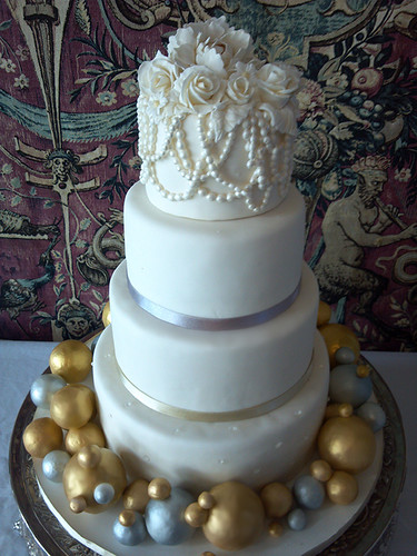 """Gold and Silver Bubble Wedding Cake • <a style=""""font-size:0.8em;"""" href=""""http://www.flickr.com/photos/50891271@N03/16321937856/"""" target=""""_blank"""">View on Flickr</a>"""
