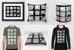 fragmented squares white print (Kondor Vali) Tags: abstract geometric digital print pattern surfacedesign organic lino nonfigurative society6