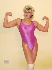 Me Posing (queen.catch) Tags: drag shiny glow wrestling posing wig sissy tranny wrestler biceps danskin leotard kneepads shemale catchqueen