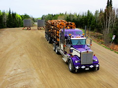 At the Cedar Barrels (jr-transport) Tags: kenworth w900 koehring w900l cedarnarrows loadaligners