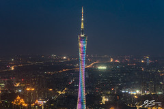 The Watch Tower (Tim van Zundert) Tags: guangzhou china city tower architecture night skyscraper landscape lights evening tv rainbow haze long exposure cityscape view sony 55mm guangdong antenna height canton tianhe a7r sel55f18z