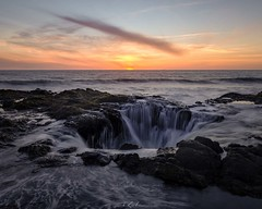 Thor's Well (SageJTN) Tags: ocean sunset seascape oregon colorful sinkhole