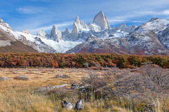 Patagonia in Autumn (baddoguy) Tags: blue autumn winter mountain lake snow reflection southamerica argentina horizontal iceage forest outdoors photography twilight day sunny nopeople glacier adventure clearsky alpenglow eroded rockformation mountainrange chalten deepsnow traveldestinations colorimage mtfitzroy famousplace nonurbanscene santacruzprovinceargentina rockobject