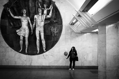 *** (Misha Sokolnikov) Tags: street leica sculpture art subway 50mm mural russia moscow candid balloon streetphotography monochrom aposummicron leicamonochrom leicamm