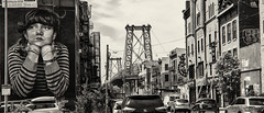 Williamsburg Mono (PAJ880) Tags: street new york nyc bridge bw art monochrome brooklyn shops colossal wlliamsburg
