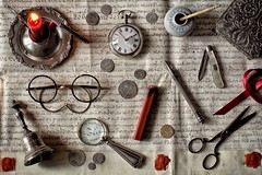Times Past (memoryweaver) Tags: stilllife silver candle flat hoian shipwreck topdown antiques vellum indenture brushpot oldparchment flatlay memoryweaver calledgraphs