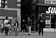 Diversity (Neil. Moralee) Tags: road street city light boy people urban blackandwhite bw woman white toronto canada man black girl monochrome bicycle ball subway lumix graffiti crossing basket outdoor candid culture neil panasonic population ethnic minority 2016 lx7 moralee neilmoralee morlaee