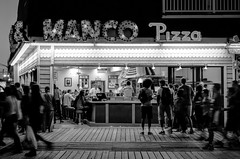 Pizza Parlor (PhillymanPete) Tags: summer people blackandwhite beach walking us newjersey nikon unitedstates pizza shore boardwalk oceancity memorialday ocnj d7000