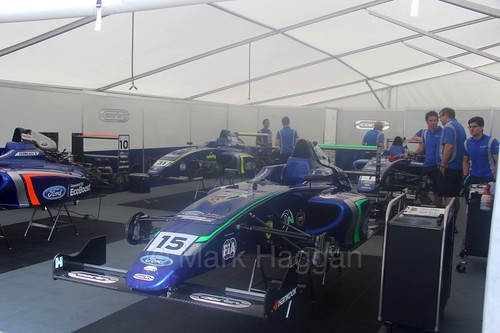 James Pull's car in the Carlin garage during the British Formula Four during the BTCC weekend at Oulton Park, June 2016