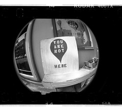 You Are Not Here (New Paltz Camera Company) Tags: street camera new york white ny black art film monochrome sign analog 35mm river lens kodak scanner trix stock bob plastic developer valley 400 epson hudson analogue v600 expired beacon esposito xtol lomographic fisheye2
