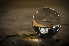 Arc De Triomphe (Ludo_Jacobs) Tags: street city paris macro reflection closeup night pointofview monuments arcdetriomphe boule crystalball glaskugel