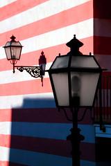 Stars and stripes (meghimeg) Tags: red white lamp stripes rosso bianco lampioni sestrilevante 2016 strisce