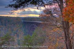 US 19 Bridge (Michael Pancier Photography) Tags: autumn sunset mountains fall us unitedstates wv westvirginia rivers cascades newhaven streams