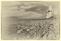 cloch lighthouse (stmonicasway photo stream) Tags: sky art water sepia scotland riverclyde rocks paintings images scottbroadley
