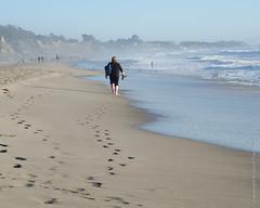 Follower (Tex Texin) Tags: aptos seascape beach resort shore seaside landscape sand coast footprints outdoor footprint barefoot barfuss people hiker walker loner