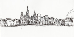 panoramica catedral bcn (jc_figuera) Tags: barcelona urban sketch arquitectura drawing bcn catedral line dibujo sketchers boceto panormica gtico