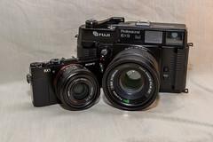 My smallest and largest cameras (deanfuller2) Tags: camera film zeiss 35mm mediumformat fuji sony explore fujifilm fullframe 90mm rx1 a99 gw690ii sal2470z