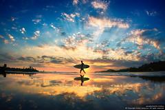 Sun-Surfer (Anton Jankovoy (www.jankovoy.com)) Tags: ocean sunset sea sun man reflection beach silhouette clouds sunrise surfer board surfing phanthiet muine             hamtien    vietnam