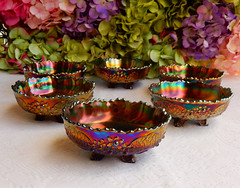Vintage Fenton Carnival Glass Berry Bowls ~ Orange Tree (Donna's Collectables) Tags: carnival orange tree glass vintage berry bowls ~ fenton