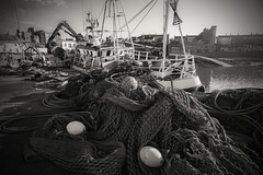 The business of fishing...... (Dafydd Penguin) Tags: uk ireland light net port coast harbor boat town fishing dock nikon village harbour vessel quay coastal 20mm af nikkor northern nets buoys quayside d600 ardglass f28d evevning