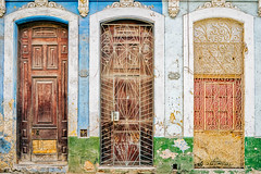 Three Doors (Simone Della Fornace) Tags: street travel blue urban lines grate colorful doors outdoor geometry sony cuba frame cuban urbex a7rii