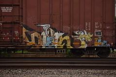 ? (TheGraffitiHunters) Tags: street blue orange white black art car yellow train graffiti colorful paint dragon box tracks spray boxcar freight benched benching