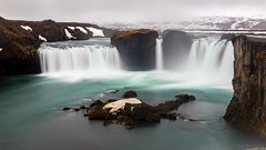 Witness the twilight of the gods (OR_U) Tags: longexposure snow mountains ice water river waterfall iceland spring rocks widescreen may landmark le oru foss 169 blindguardian 2016 goafoss skjlfandafljt