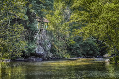 Hidden house by the Delaware River (jsleighton) Tags: trees house stairs river rocks rail hidden delaware
