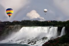 Niagara Falls  New York ~ United States ~ Hot Air Balloons (Onasill ~ Bill Badzo) Tags: world park city travel bridge sky ny newyork ontario canada macro reflection nature rock night canon river balloons lens rebel lights see site rainbow flickr state outdoor air famous sigma tourist casino tourists falls historic american waterfalls seeing flare horseshoe dslr must maidofthemist sire casinos app attraction sl1 americanfalls on eriecounty canadain nrhp niagaracounty 18250mm iagara onasill snapseed