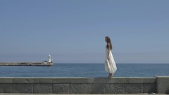 Barefooted Woman Walking On The Pier (alekseiptitsa) Tags: ocean trip travel blue light sea summer vacation sky woman sun lighthouse white holiday hot beach nature water girl beautiful beauty fashion lady female outside outdoors happy person model pretty alone looking adult expression background young lifestyle sunny dreaming journey barefoot attractive luxury 4k