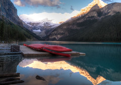 Lake Louise, Alberta, Canada (leomacdonald) Tags: blue red lake canada mountains water sunrise rockies mood turquoise ngc canoe explore alberta lakelouise canadianrockies sonya7