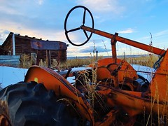 Antique (takeruyamato44) Tags: winter snow tractor west abandoned night evening unitedstates northwest antique farm farming powell northamerica farms antiques wyoming tractors farmequipment bighornbasin parkcounty