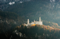 Autumnal Neuschwanstein (Philipp Klinger Photography) Tags: trip autumn trees winter light sunset vacation mountain holiday snow alps tree tower castle fall nature architecture forest germany landscape bayern deutschland bavaria evening nikon europa europe zoom hill landmark palace foliage tele alpen neuschwanstein schloss philipp schwanstein attraction neu hohenschwangau d800 schlossneuschwanstein allgu schwangau klinger schlos ostallgu nikon70200f4