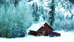 Caretakers cabin - Alaska (JLS Photography - Alaska) Tags: winter snow cold art alaska america landscape landscapes frozen cabin scenery digitalart wilderness digitalmanipulation winterlandscape lastfrontier cabinlife alaskalandscape jlsphotographyalaska