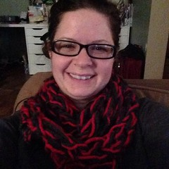 "Em made me an infinity scarf! #armknitting for the win!! She's so talented :) • <a style=""font-size:0.8em;"" href=""http://www.flickr.com/photos/10624169@N08/15606267730/"" target=""_blank"">View on Flickr</a>"
