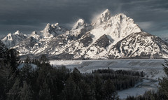 frozen HEIGHTS (laura's POV) Tags: park winter snow mountains cold west ice nature pinetree river peak blowing grand jackson national snakeriver rockymountains wyoming teton tetons jacksonhole thegrand gtnp lauraspointofview lauraspov