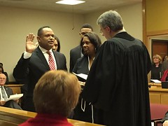 John Belton taking the Oath of Office as the new District Attorney of Lincoln and Union Parishes.