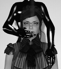 Cigarette Holder (alexandriabrangwin) Tags: world bw woman white black face look fetish standing computer glasses 3d holding graphics shiny power control image cigarette sub blouse smoking secondlife virtual latex behind total mistress stern iconic domme catsuit cgi slave dominatrix enclosure updo governess mondybristol alexandriabrangwin