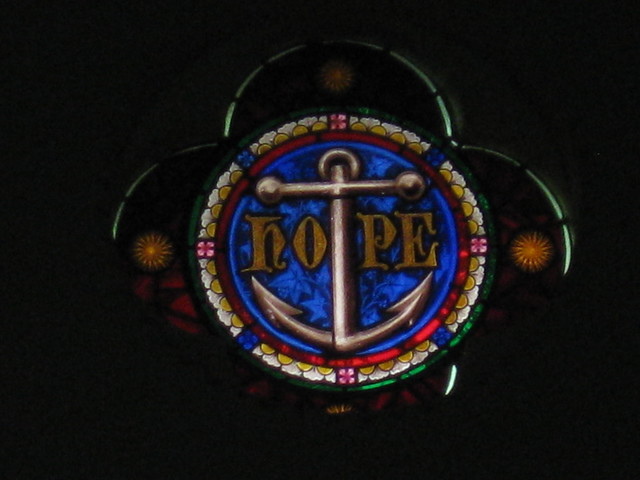 The Hope Lunette of the Stained Glass Chancel Window; St Judes Church of England - Corner of Lygon, Palmerston and Keppel Streets, Carlton