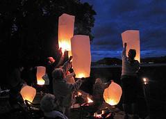 Lanterns (Carolbreeze99) Tags: family light party wales bluehour lantern luminosity upandaway moredrin